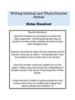 Writing Decimal Names