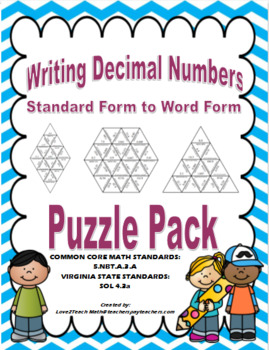 Writing Decimal Numbers Puzzle Pack