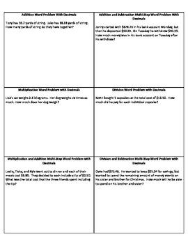 Writing Decimal Word Problems