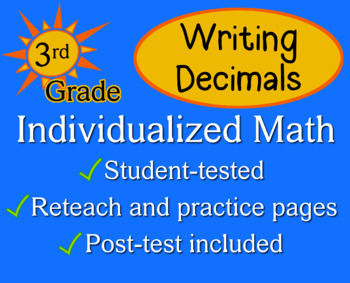 Writing Decimals, 3rd grade - Individualized Math - worksheets