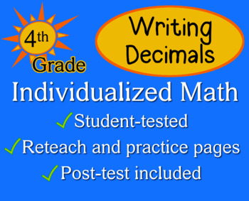 Writing Decimals, 4th grade - Individualized Math - worksheets
