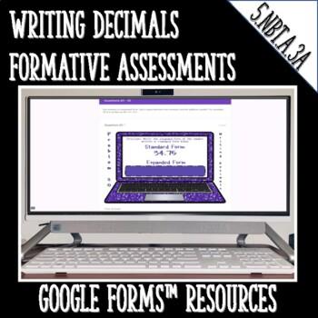 Writing Decimals 5.NBT.A.3.A DIGITAL TASK CARDS for Google Classroom