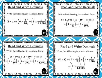 Writing Decimals In Standard and Expanded Form Task Cards /Scoot -5.NBT.A.3a