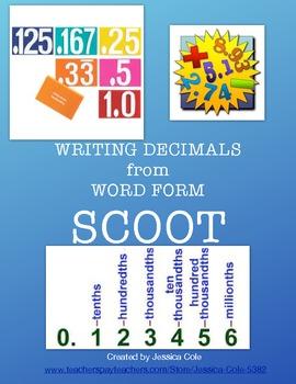 Writing Decimals Scoot Game