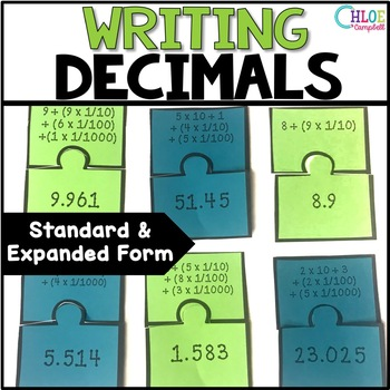 Writing Decimals - Standard Form and Expanded Form Matching Game