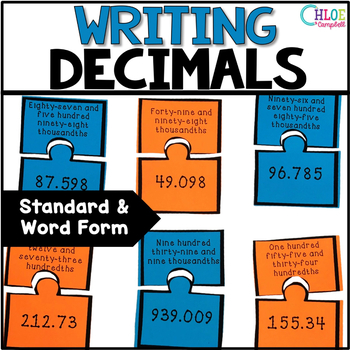 Writing Decimals - Standard Form and Word Form Matching Game