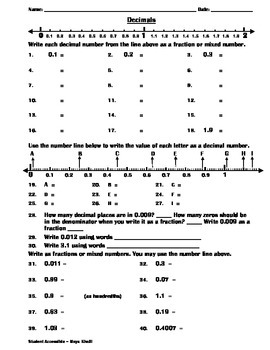 Writing Decimals and Fractions Practice Worksheet
