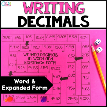 Writing Decimals in Expanded and Word Form Board Game