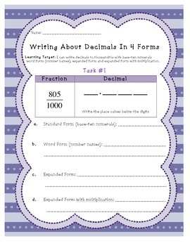 Writing Decimals in FOUR Forms