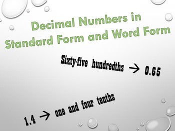 Writing Decimals in Word Form and Standard Form