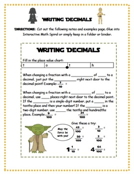 Writing Decimals {tenths and hundredths}