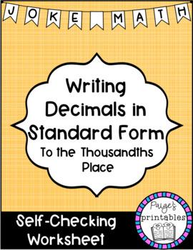 Writing Decimals to Thousandths in Standard Form Joke Math NO PREP