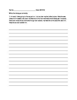 Writing Dialogue Assessment