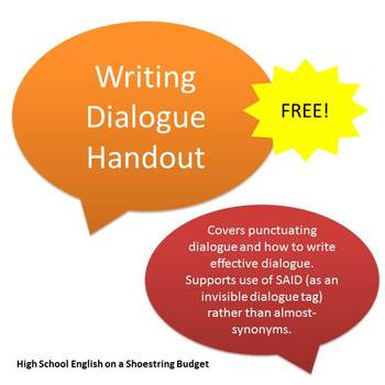 Writing Dialogue Handout with Punctuation and Using in a Story