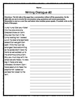 Writing Dialogue Practice Sheets
