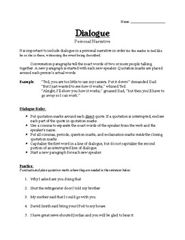 Writing Dialogue for a Personal Narrative
