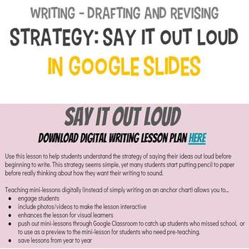 Writing Digital Lesson - Say It Out Loud
