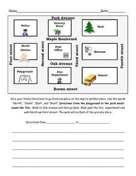Geography/Social Studies Map Unit: Writing Directions