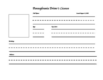 Writing - Driver's License Template