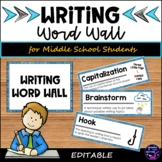 Writing ELA Word Wall for Middle School Students
