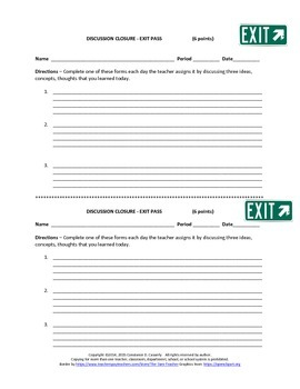 "Comprehension Assessment Activity - ""Exit Pass"""