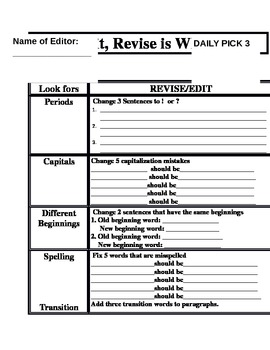 """Writing-""""Edit and Revise is Wise"""" Template"""