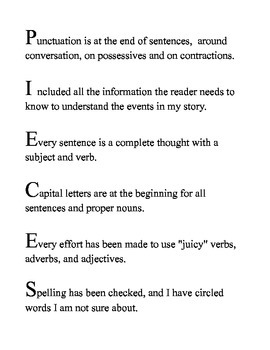 Writing Edit and Revision Student Reminder - PIECES