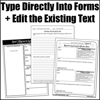 Writing Editable Forms {Opinion Writing - Unit 3 - 5th Grade}