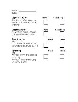 Writing Editing Checklist