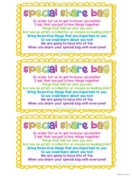 Back to School Share Bag Activity - Share Bag Poem & Parent Letter (FREE)
