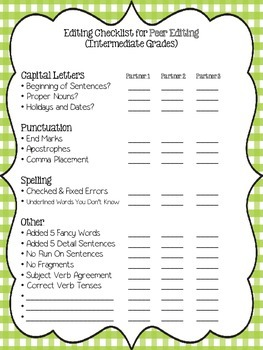 Writing Editing Checklist - Forms for Intermediate Grades