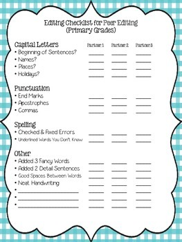 Writing Editing Checklist - Forms for Primary Grades