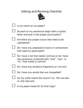 Writing - Editing and Revising Student Checklist