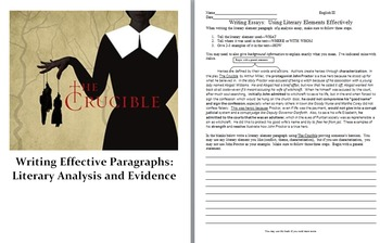 Writing Effective Paragraphs:  Literary Analysis, Evidence and The Crucible