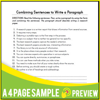 Writing Sentences | Activities  20 writing Lessons | Writing Strategies |  Gr 7-8