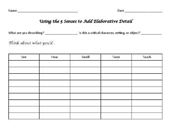 Writing Elaborative Detail Using the 5 Senses