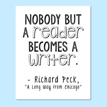 """FREEBIE! """"A Long Way from Chicago"""" by Richard Peck Encouragement Quote Poster"""