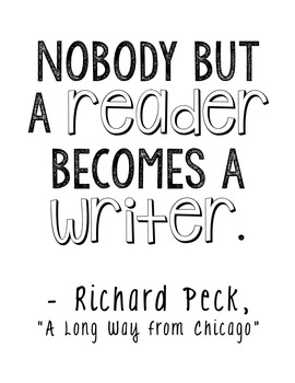 "FREEBIE! ""A Long Way from Chicago"" by Richard Peck Encouragement Quote Poster"