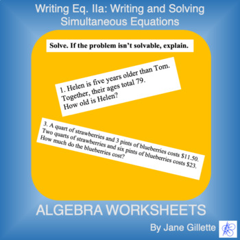 Writing Eq. IIa: writing and solving linear and simultaneous equations