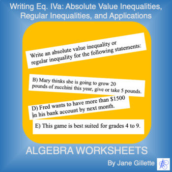 Writing Eq. IVa: Inequalities and Absolute Value Inequalites, and Applications