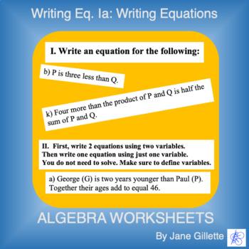 Writing Eq. Ia: Writing Equations