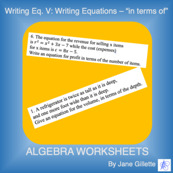 """Writing Eq. V: Writing Equations """"in terms of"""""""