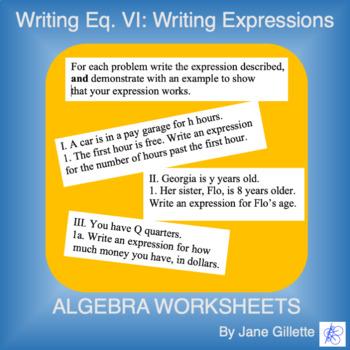 Writing Eq. VI: Writing Expressions