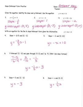 Writing Equations in Slope-Intercept Form
