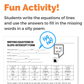 Writing Equation of Line in Slope-Intercept Form Given Two Points - Fun Activity