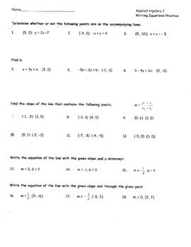 Writing Equations Algebra 2