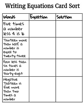 Writing Equations Cut and Sort Activity
