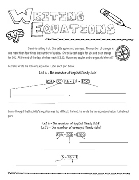 Writing Algebraic Equations Doodle Notes