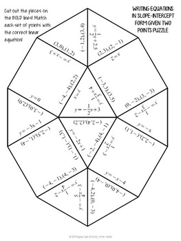 Writing Equations in Slope Intercept Form Given Two Points Tarsia Puzzle