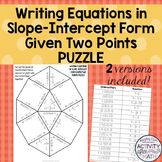 Writing Equations in Slope Intercept Form Given Two Points Puzzle